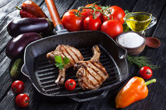 Chop on the bone grill pan Stock Image