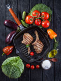 Chop on the bone grill pan Stock Photography
