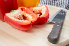 Chop red sweet bell peppers Stock Image
