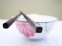 Chop stick. Close up for a chop stick on top of bowl, chinese style kitchenware Stock Photo