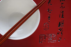 Chop Sticks and Bowl on Japanese Platter Stock Photos
