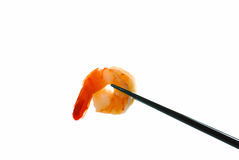 Chop sticks with fresh shrimp Stock Photography