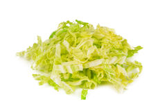 Choped cabbage on white. Heap of chopped cabbage on white background Royalty Free Stock Photo