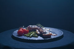 Choped chicken steak with salad Stock Photography