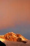 Chopicalqui on sunset #1. Chopicalqui Peak from Cordiliera Blanca Stock Photo