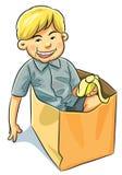 Chłopiec Łasowania Banan Fotografia Stock