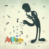 Chłopiec bawić się saksofon dla muzycznego pojęcia Zdjęcia Royalty Free