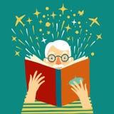Chłopiec czyta książkową kreskówki ilustrację Zdjęcia Stock