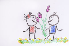 Chłopiec daje dziewczynie kwiaty na białym tle - ilustracja Obraz Royalty Free