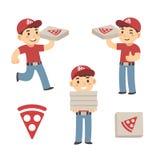 chłopiec dostawa cieszy się twój lunch pizzę Obrazy Royalty Free