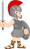 Chłopiec jest ubranym rzymskiego żołnierza kostium Obraz Royalty Free