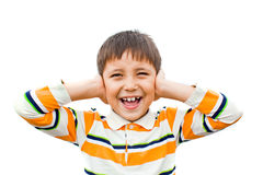 chłopiec krzyczy ręki target434_1_ jej ucho Zdjęcie Royalty Free