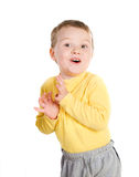 chłopiec mały rozochocony Fotografia Royalty Free