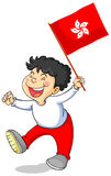 Chłopiec mienia flaga HongKong Zdjęcie Stock
