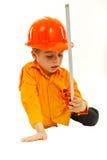 chłopiec mienia miara główkowania narzędzia Fotografia Stock