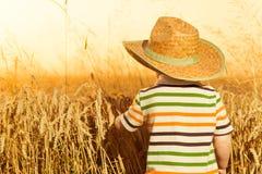 Chłopiec w kapeluszu przy lato banatką Zdjęcia Royalty Free