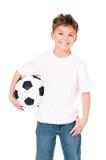 Chłopiec z piłki nożnej piłką Zdjęcie Royalty Free