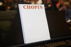 Chopin classical musical score with piano and background Stock Photo