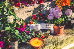 Chopin grave, anniversary with flowers Pere-Lachaise cemetery Stock Image