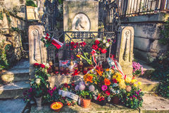 Chopin grave, anniversary with flowers Pere-Lachaise cemetery Royalty Free Stock Images