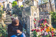 Chopin grave with flowers, Pere-Lachaise cemetery Royalty Free Stock Images