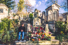 Chopin grave with flowers, Pere-Lachaise cemetery Stock Photography