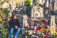 Chopin grave with flowers, Pere-Lachaise cemetery Royalty Free Stock Photography