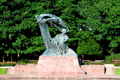 Chopin statue at Royal Baths Park Royalty Free Stock Photos