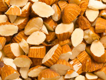 Chopped almonds. Close up of chopped almonds food background stock photos