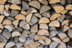 Chopped aspen firewood stacked up in a pile. Stock Image