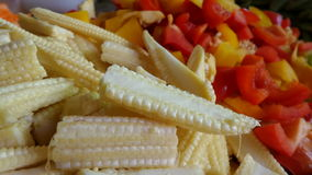 Chopped Baby corn red  yellow Bell pepper Stock Photography