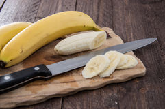 Chopped Banana on a cutting board Stock Photography