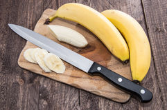 Chopped Banana on a cutting board Royalty Free Stock Photo