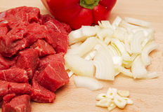 Chopped beef steak with onion and garlic Royalty Free Stock Photo