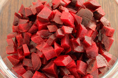 Chopped beetroot in glass bowl Royalty Free Stock Images