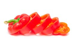 Chopped bell peppers isolated Stock Photo
