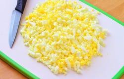 Chopped boiled eggs Stock Photos