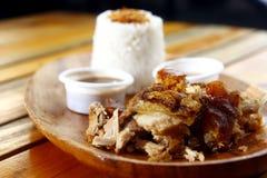 Chopped briet Schweinefleisch- oder Schwein- und Knoblauchreis Lizenzfreies Stockbild