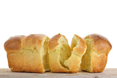 Chopped Brioche. On white background Royalty Free Stock Images