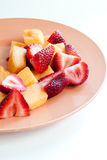 Chopped Canteloupe and Strawberries Stock Image