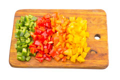 Chopped Capsicums On Cutting Board III Stock Photos