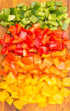 Chopped Capsicums On Cutting Board IV Royalty Free Stock Photos