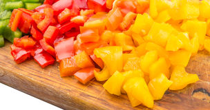Chopped Capsicums On Cutting Board IX Royalty Free Stock Photography
