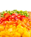 Chopped Capsicums On Cutting Board VI Royalty Free Stock Image