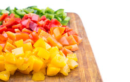 Chopped Capsicums On Cutting Board VII Royalty Free Stock Photos
