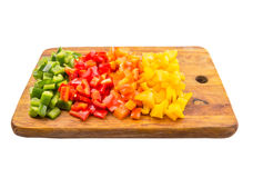 Chopped Capsicums On Cutting Board VIII Stock Photo