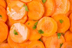 Chopped carrot slices. Fresh raw peeled carrot slice in bowl. Stock Image