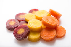 Chopped carrots in different colors, close up Stock Photography