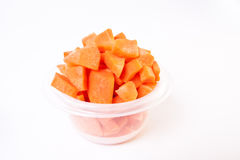 Chopped Carrots in Plastic Container Royalty Free Stock Photos