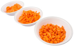Chopped Carrots In White Bowls II Royalty Free Stock Photography